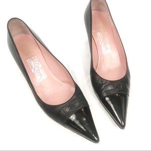 Salvatore Ferragamo vintage black kitten heels
